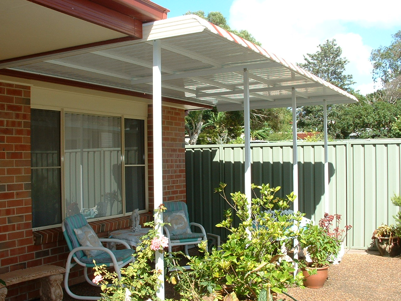 striped Colorbond® awning